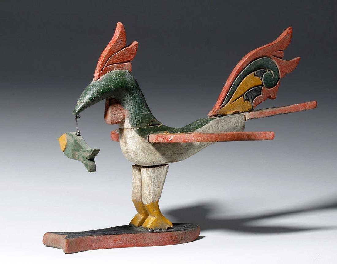 Unusual Asian Wooden Bird & Two Fish