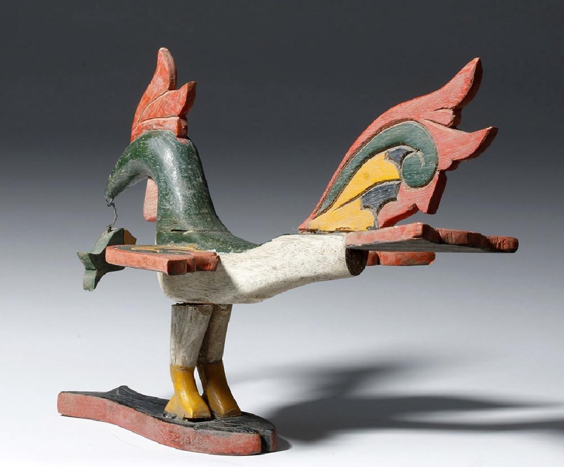 Unusual Asian Wooden Bird & Two Fish - 2