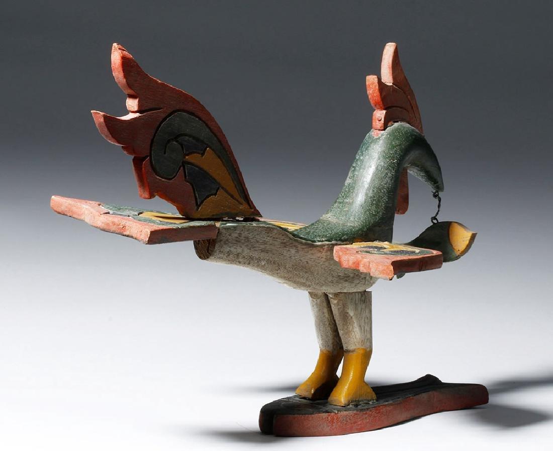 Unusual Asian Wooden Bird & Two Fish - 3
