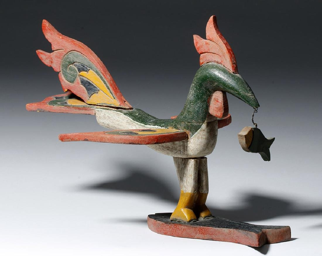 Unusual Asian Wooden Bird & Two Fish - 5