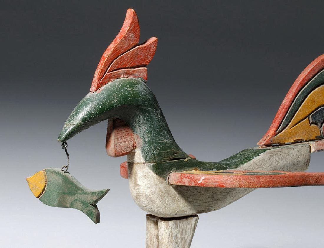 Unusual Asian Wooden Bird & Two Fish - 6