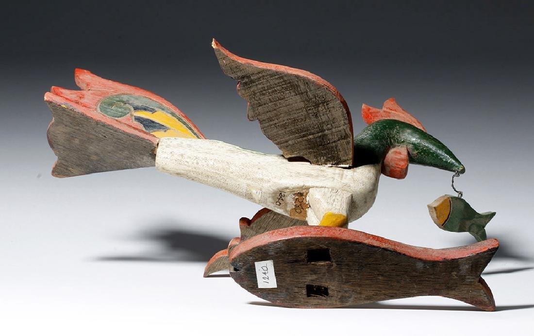 Unusual Asian Wooden Bird & Two Fish - 7