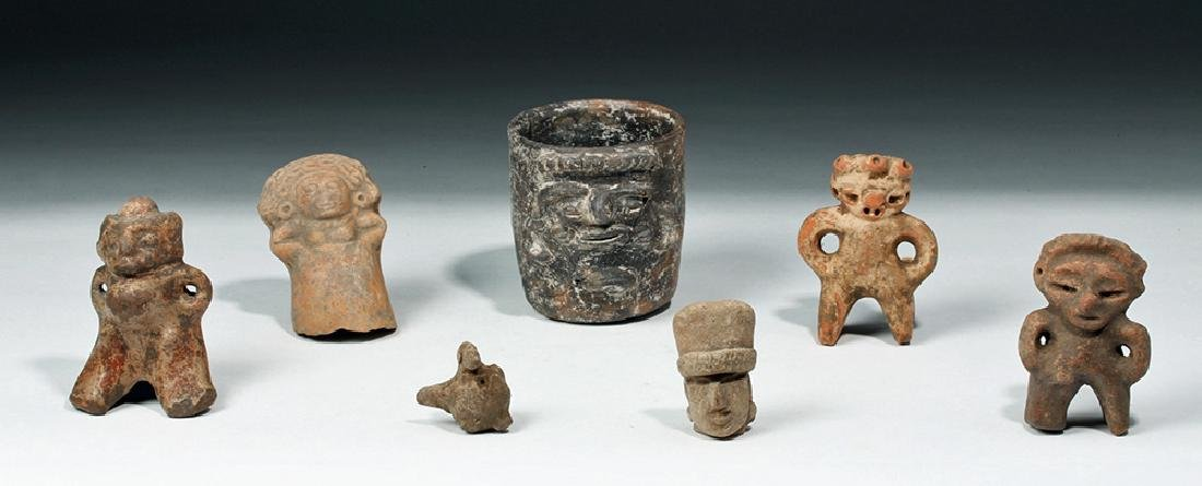 Lot of 7 Ancient Mayan Terracotta Objects