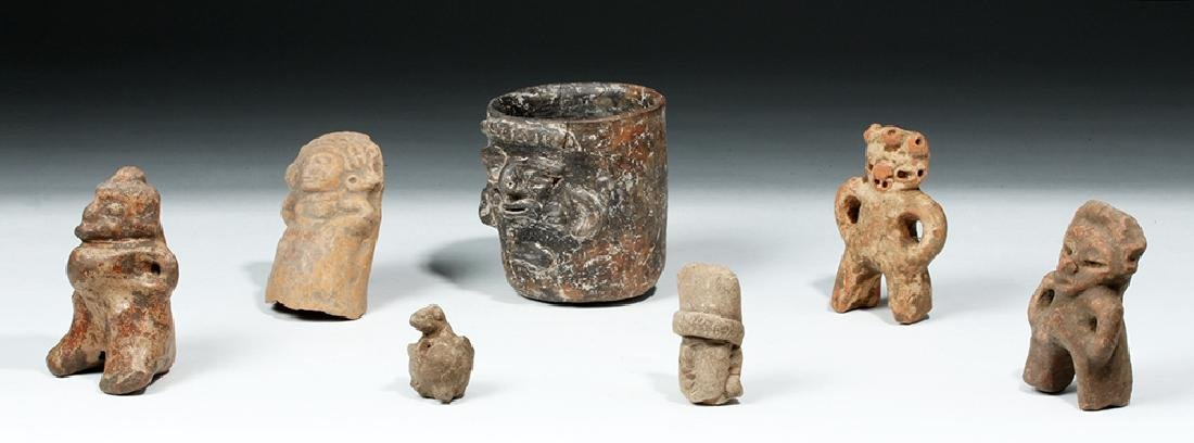 Lot of 7 Ancient Mayan Terracotta Objects - 2