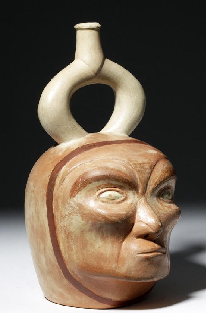Moche I Polychrome Portrait Vessel - Old Man - 4