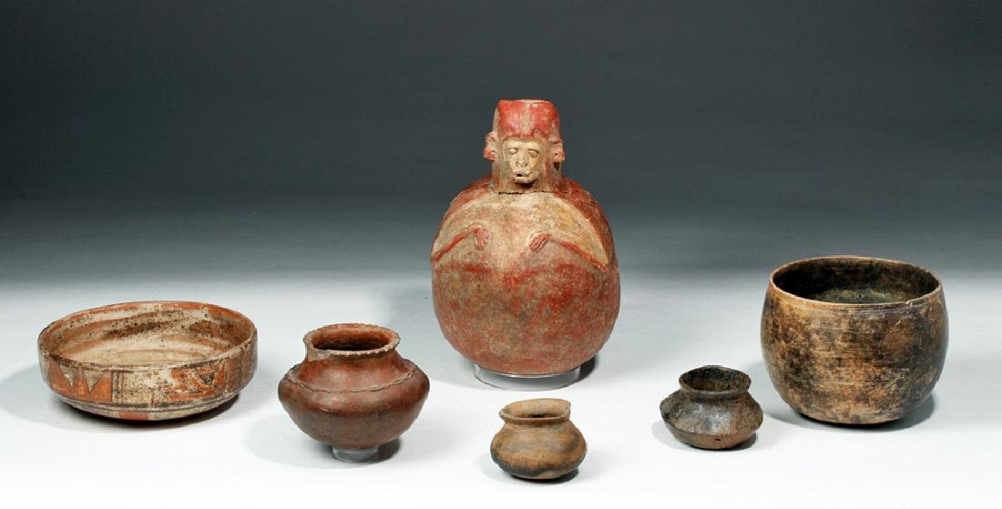 Lot of 6 Pre-Columbian Pottery Vessels