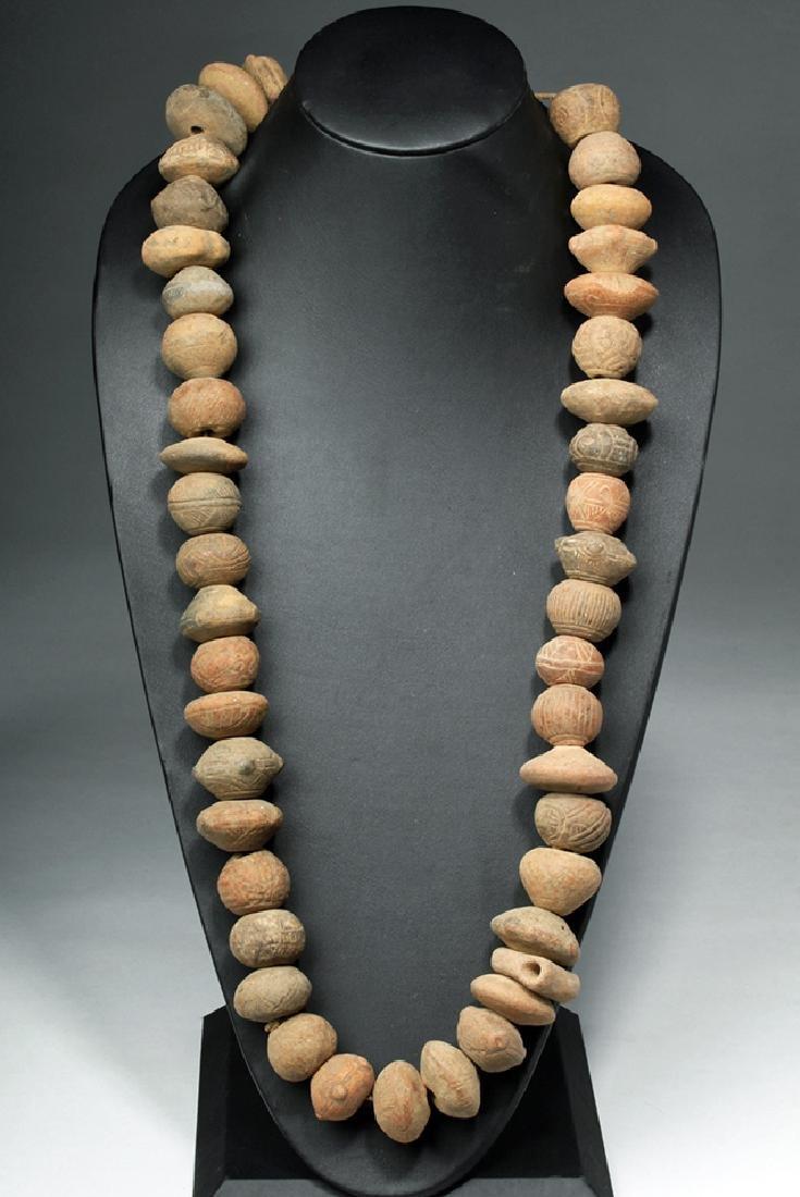 Ecuadoran Pottery Necklace - 44 Spindle Whorls