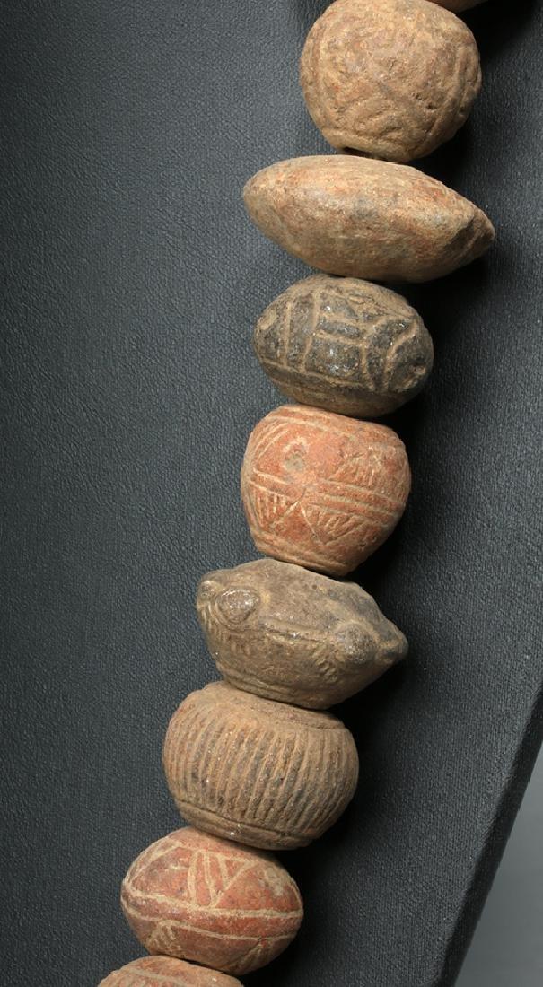 Ecuadoran Pottery Necklace - 44 Spindle Whorls - 3