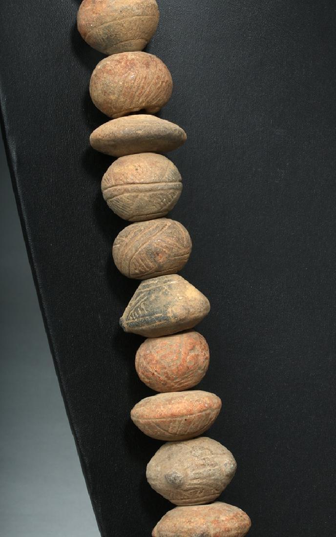 Ecuadoran Pottery Necklace - 44 Spindle Whorls - 4