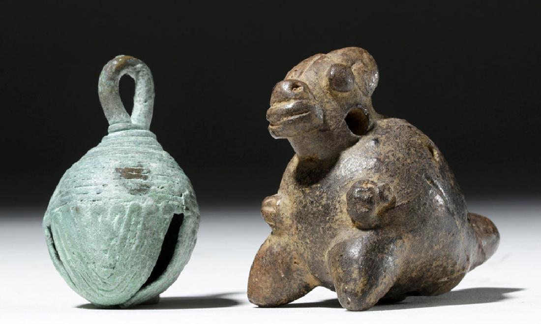 Large Mixtec Copper Bell & Costa Rican Pottery Ocarina