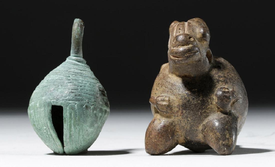 Large Mixtec Copper Bell & Costa Rican Pottery Ocarina - 2