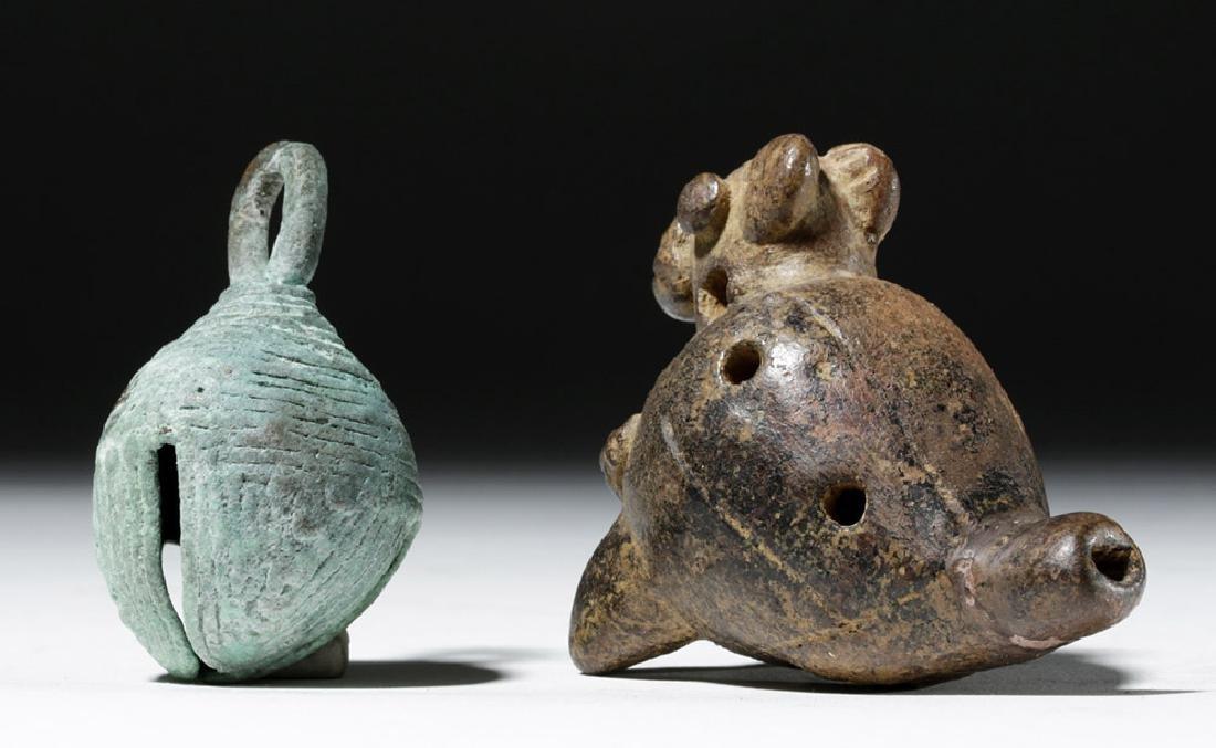 Large Mixtec Copper Bell & Costa Rican Pottery Ocarina - 3