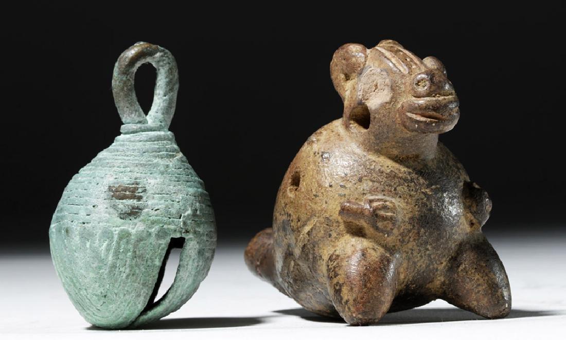 Large Mixtec Copper Bell & Costa Rican Pottery Ocarina - 5
