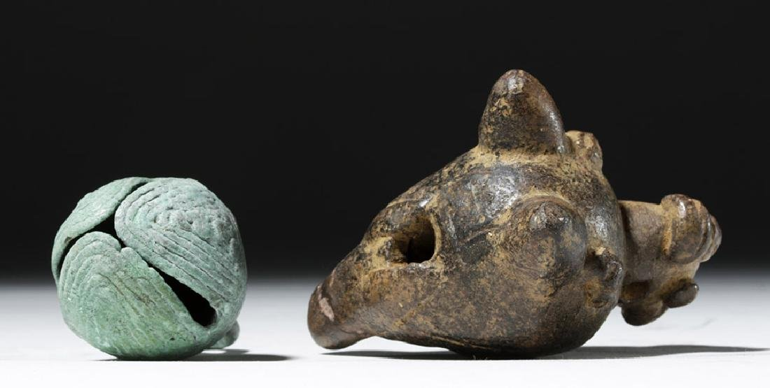 Large Mixtec Copper Bell & Costa Rican Pottery Ocarina - 6