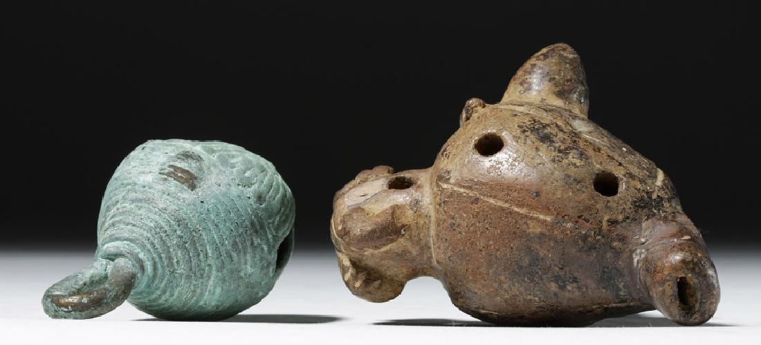 Large Mixtec Copper Bell & Costa Rican Pottery Ocarina - 7