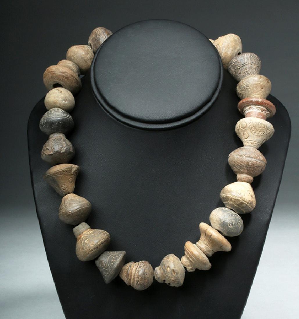 Ecuadorian Pottery Necklace - 24 Spindle Whorls - 2