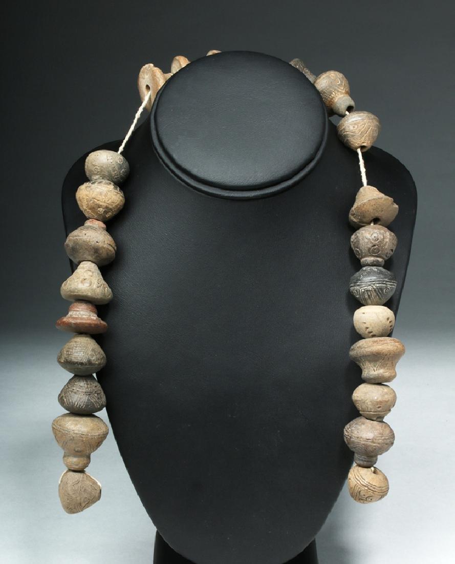 Ecuadorian Pottery Necklace - 24 Spindle Whorls - 5