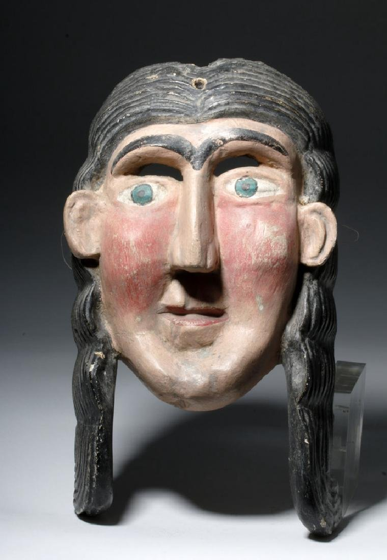 Guerrero, Mexica Carved Wooden Mask of Malinche