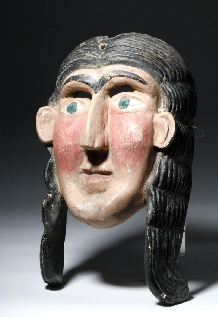 Guerrero, Mexica Carved Wooden Mask of Malinche - 2