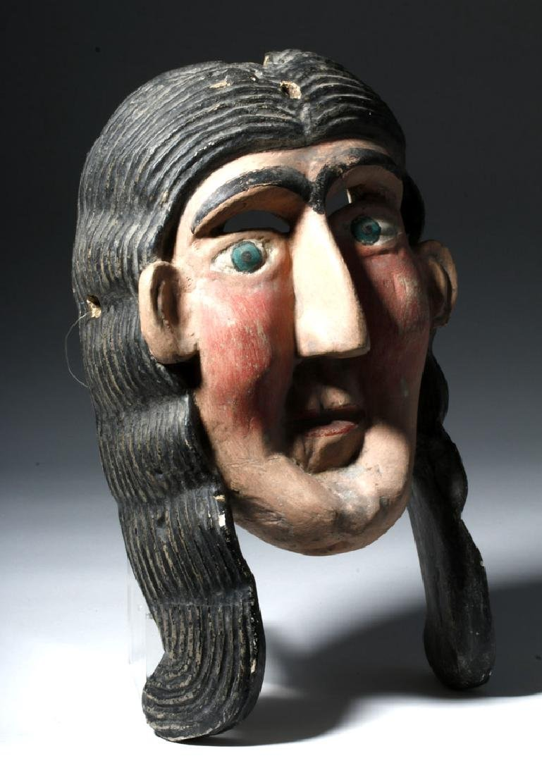 Guerrero, Mexica Carved Wooden Mask of Malinche - 3