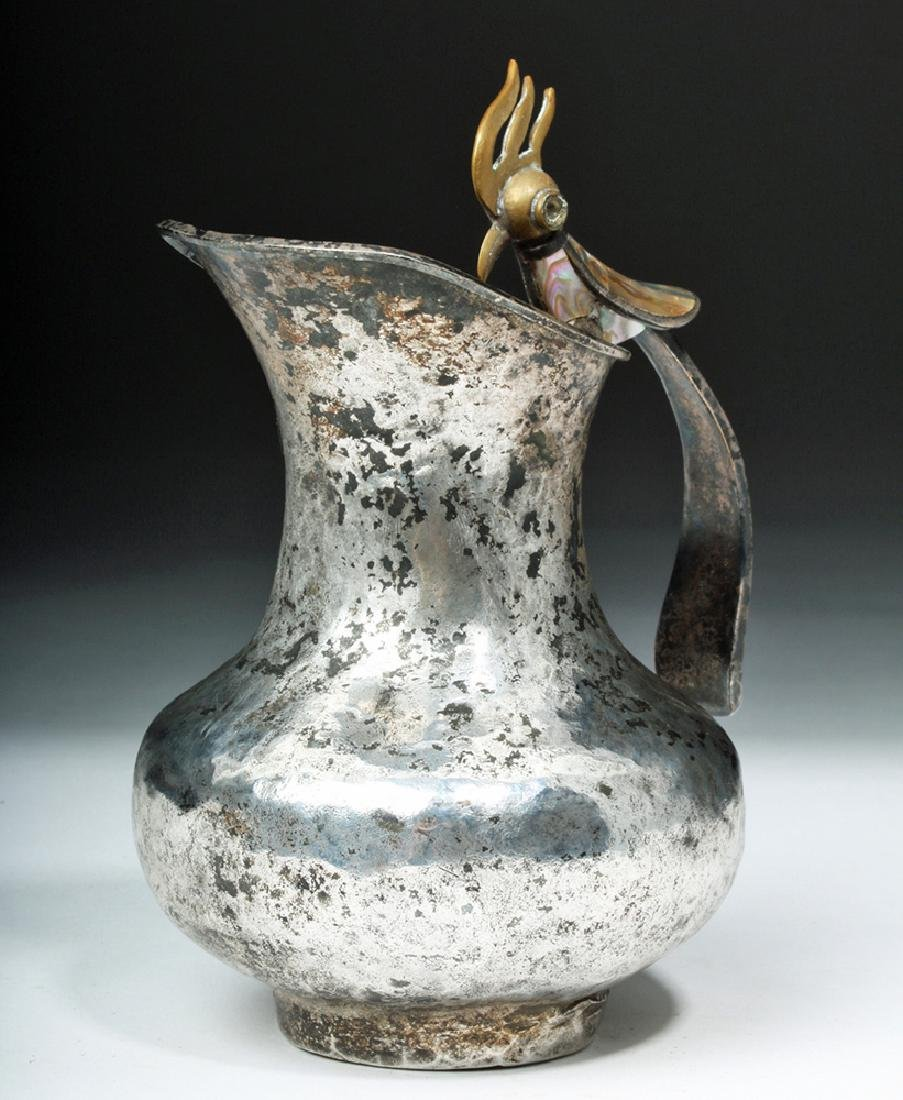 Silver Plated Mexican Castillo Pitcher w/ Bird Handle - 2