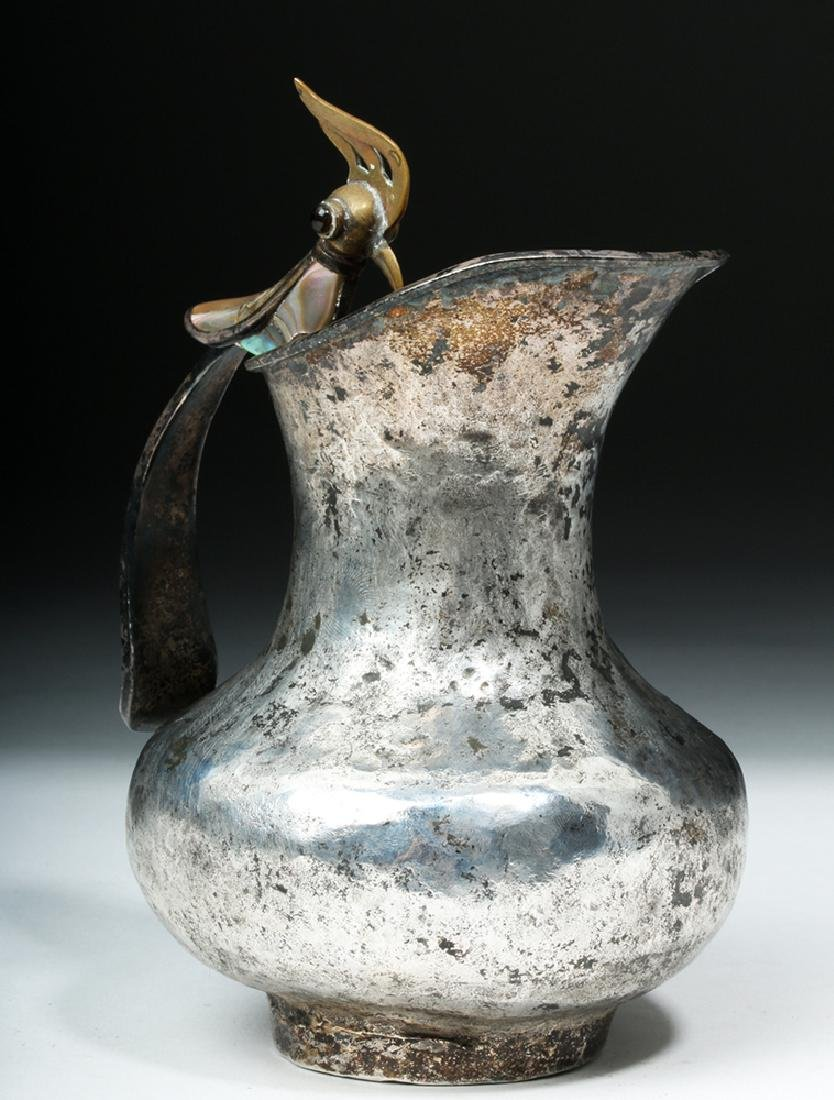 Silver Plated Mexican Castillo Pitcher w/ Bird Handle - 5