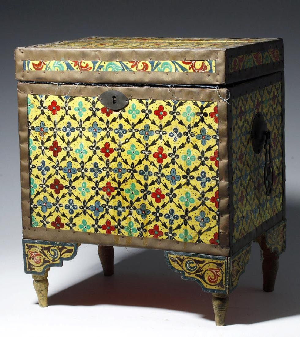 20th C. Latin American Painted Wood Trunk