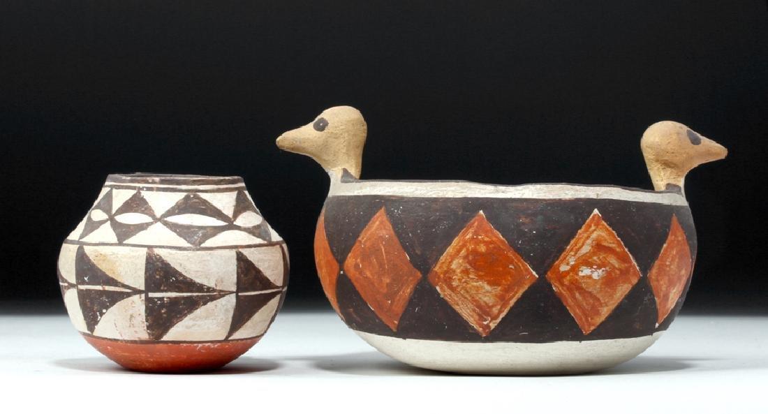 Mid 20th C. Acoma w/ Bird Heads + Cochiti Pottery Bowls