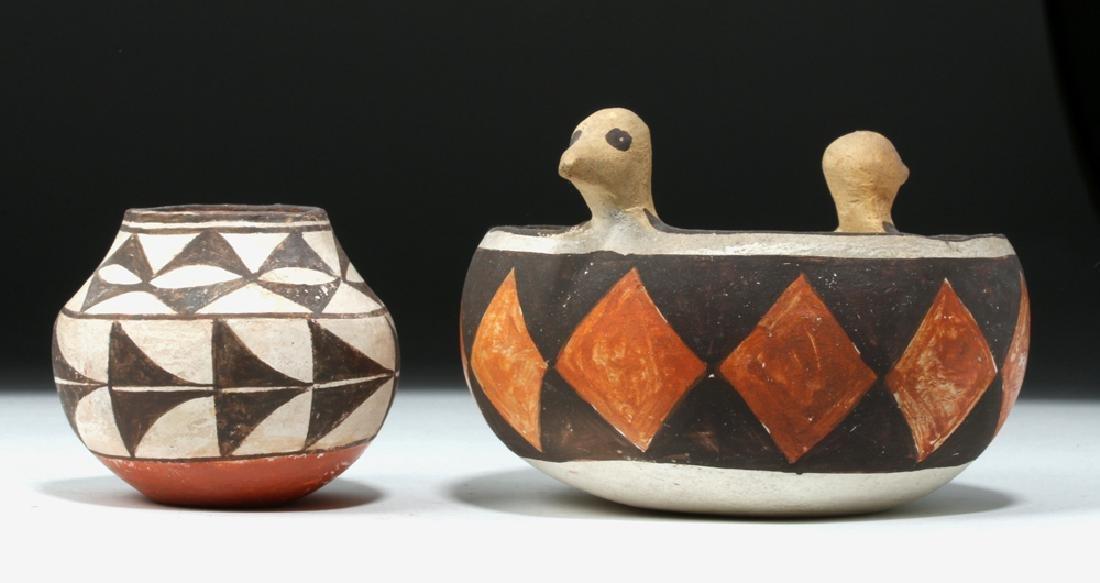 Mid 20th C. Acoma w/ Bird Heads + Cochiti Pottery Bowls - 2