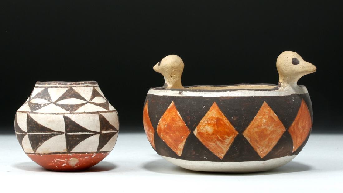 Mid 20th C. Acoma w/ Bird Heads + Cochiti Pottery Bowls - 3