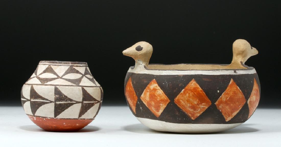 Mid 20th C. Acoma w/ Bird Heads + Cochiti Pottery Bowls - 4