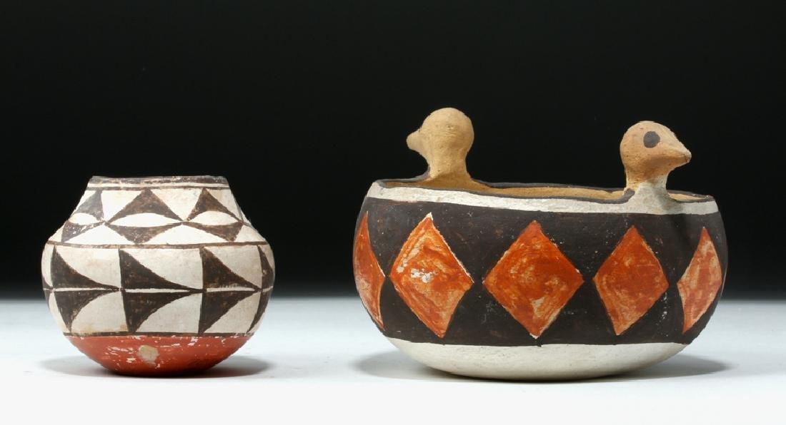 Mid 20th C. Acoma w/ Bird Heads + Cochiti Pottery Bowls - 5