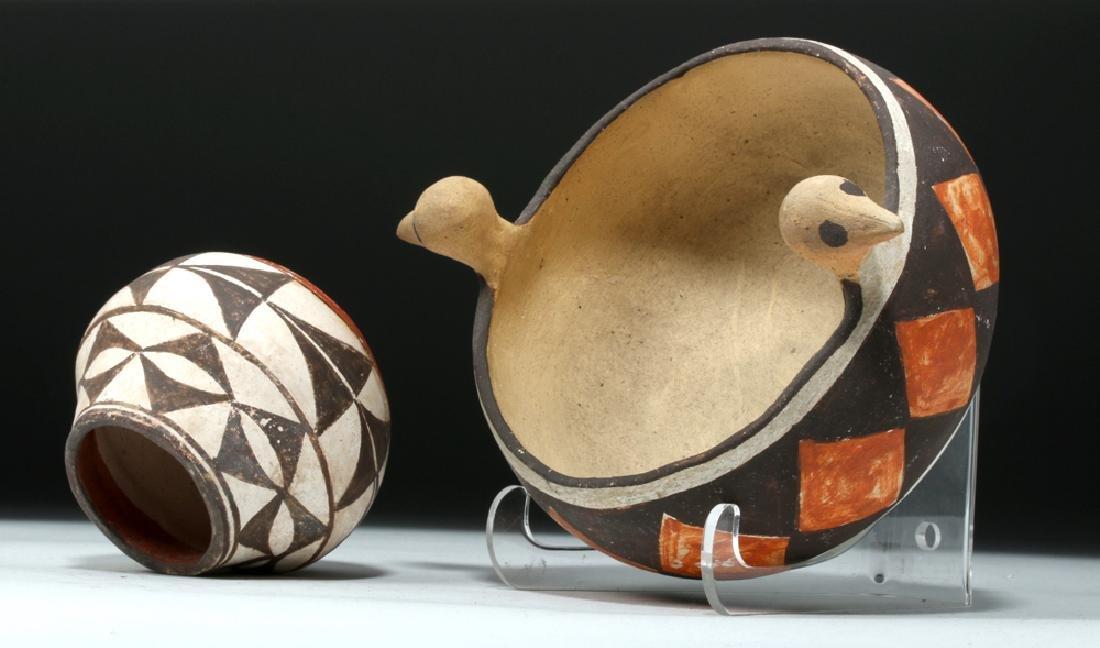 Mid 20th C. Acoma w/ Bird Heads + Cochiti Pottery Bowls - 6