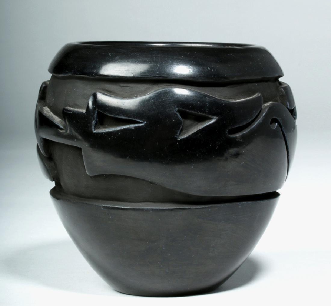 Santa Clara Pueblo Blackware Jar w/ Avanyu, Mida Tafoya