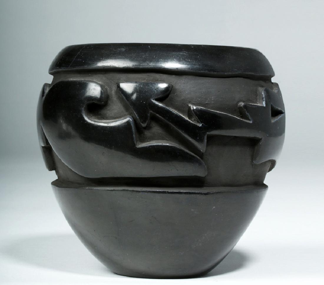 Santa Clara Pueblo Blackware Jar w/ Avanyu, Mida Tafoya - 2