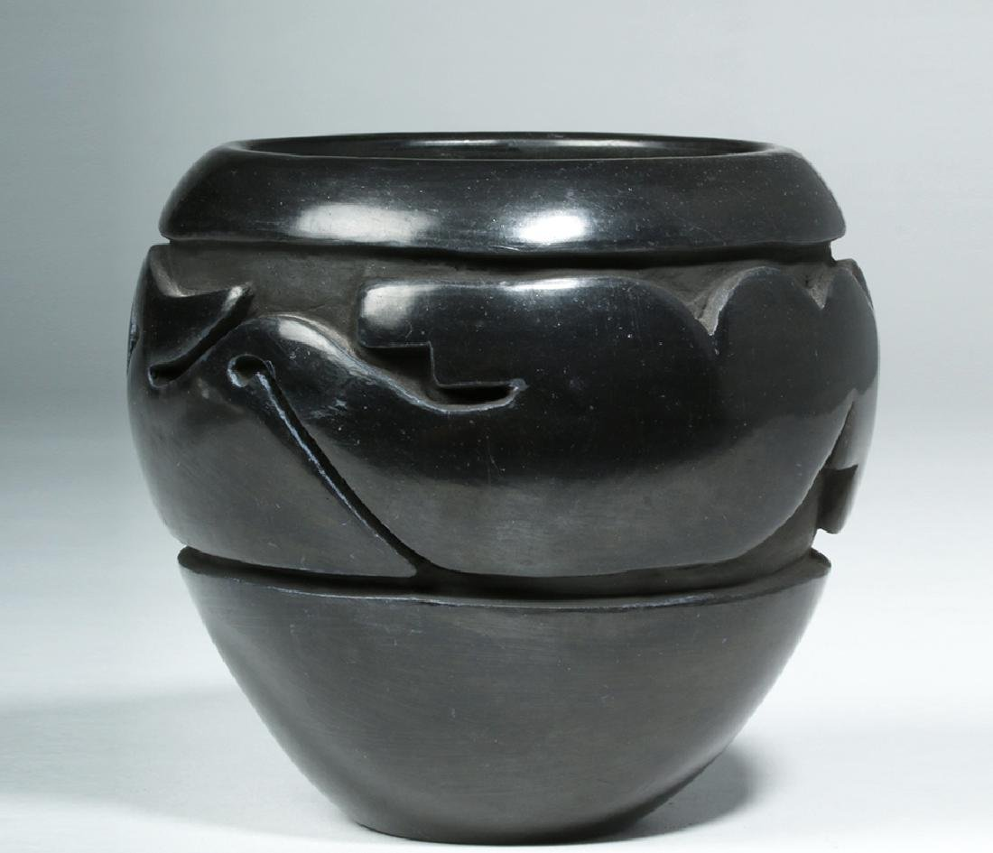 Santa Clara Pueblo Blackware Jar w/ Avanyu, Mida Tafoya - 3
