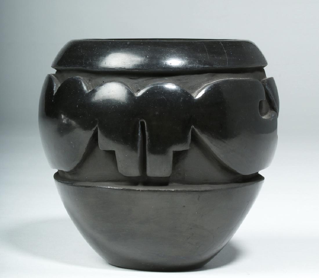 Santa Clara Pueblo Blackware Jar w/ Avanyu, Mida Tafoya - 4