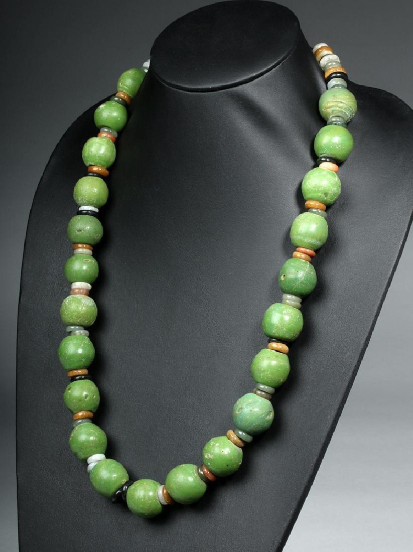 Superb Indonesian Majapahit Glass & Jade Necklace
