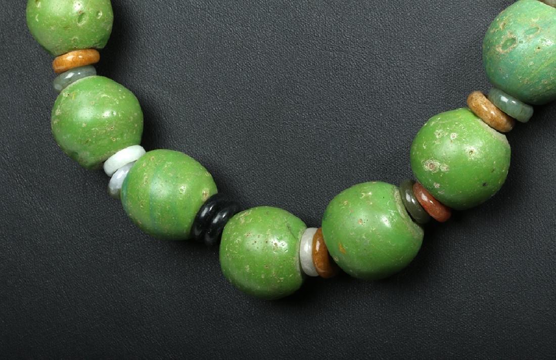 Superb Indonesian Majapahit Glass & Jade Necklace - 2