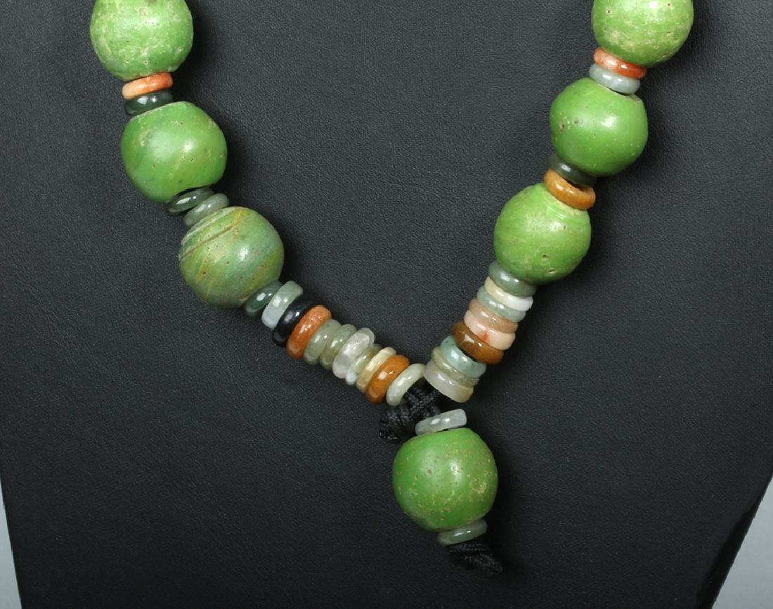 Superb Indonesian Majapahit Glass & Jade Necklace - 3