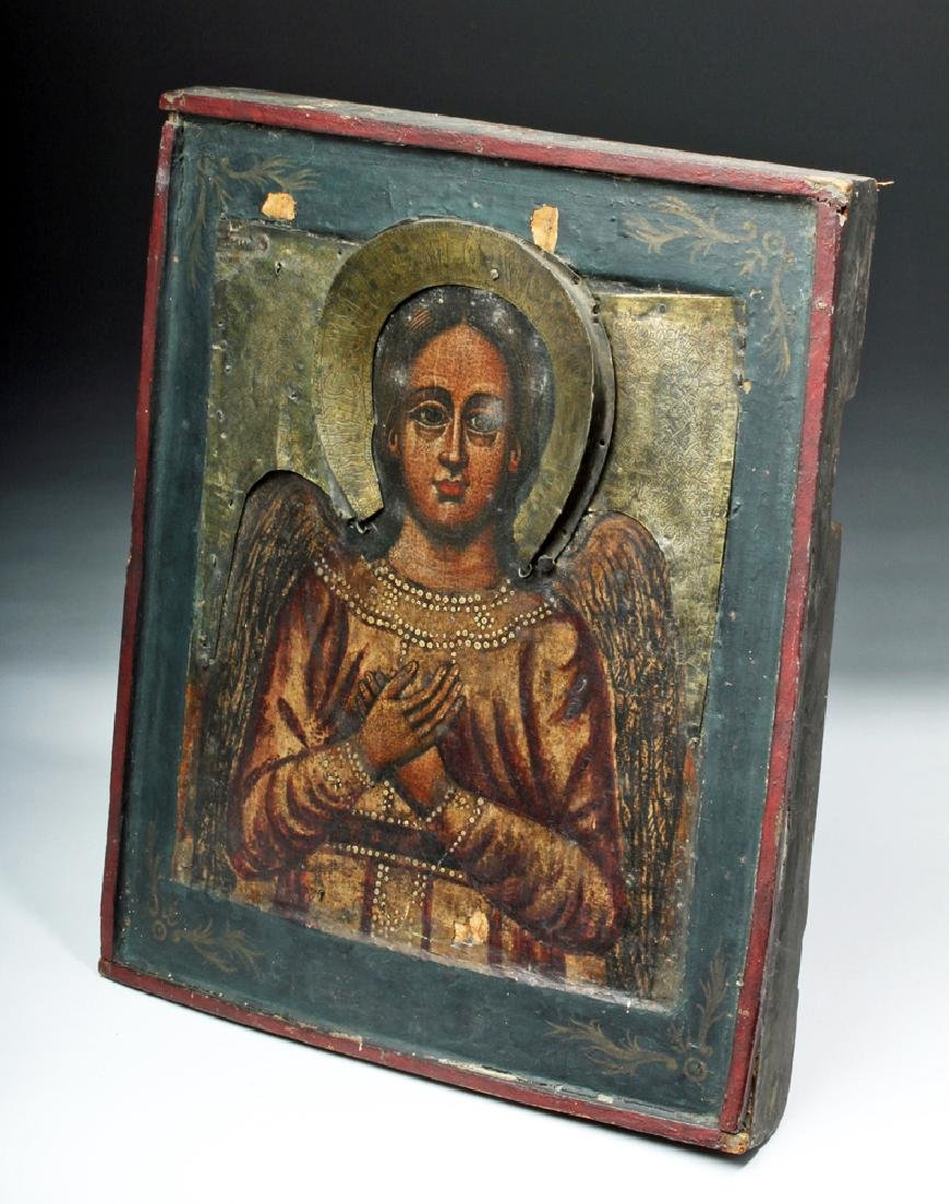 19th C. Russian Icon w/ Brass Riza - Archangel Michael