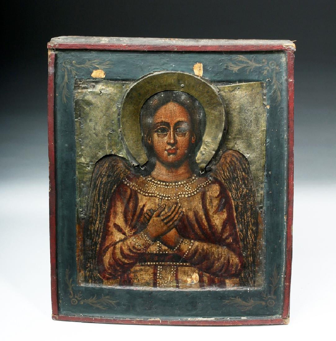 19th C. Russian Icon w/ Brass Riza - Archangel Michael - 2