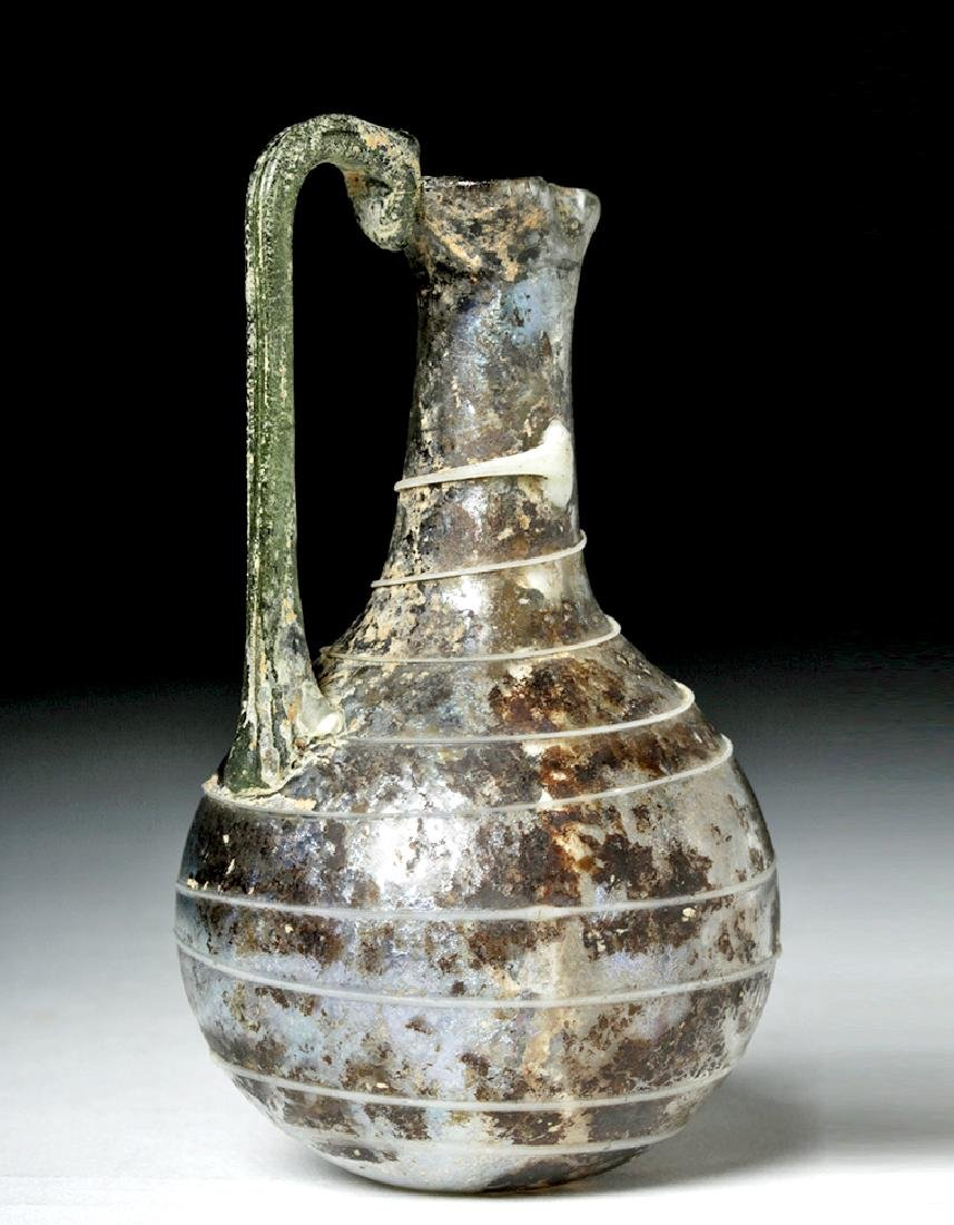 Roman Glass Pouring Pitcher w/ Trailing - 3