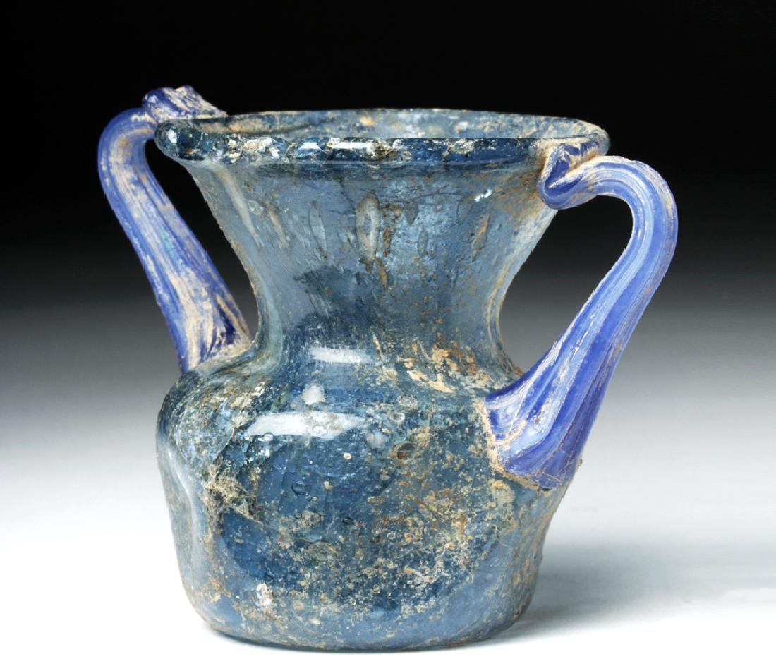 Roman Glass Twin-Handled Vessel - Gorgeous Blue!