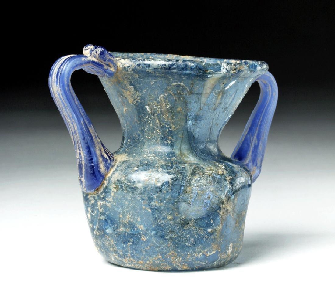 Roman Glass Twin-Handled Vessel - Gorgeous Blue! - 2