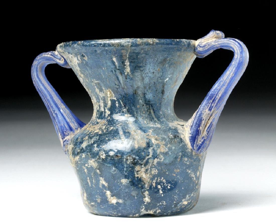 Roman Glass Twin-Handled Vessel - Gorgeous Blue! - 3