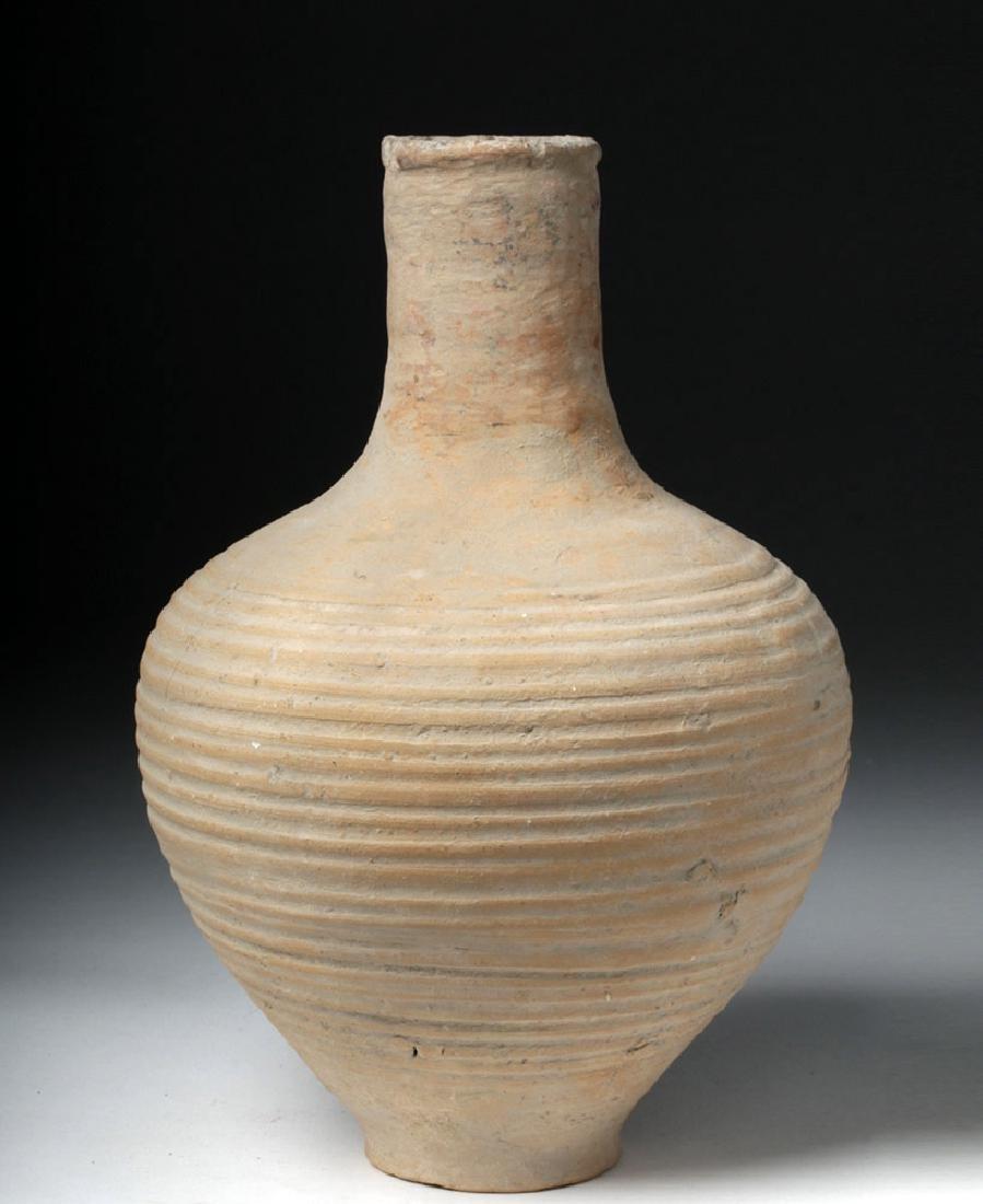 Tall Roman Terracotta Pottery Vessel - Ribbed Body - 3