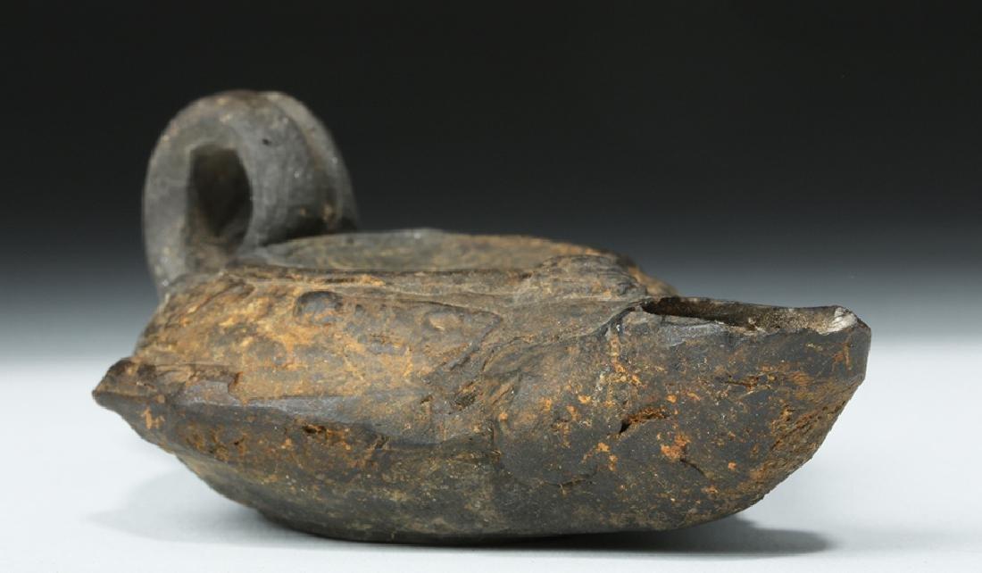 Roman Blackware Pottery Oil Lamp - 5