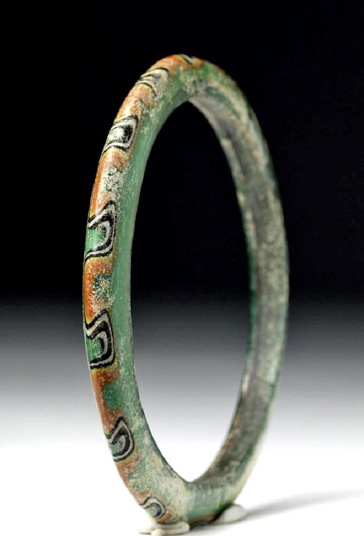 Large Byzantine Painted Green Glass Bracelet