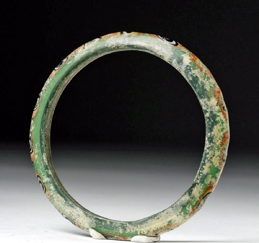 Large Byzantine Painted Green Glass Bracelet - 3